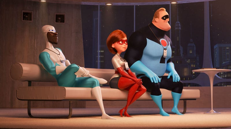 Frozone, Elastigirl, and Mr. Incredible listen intently in Incredibles 2.