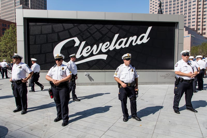 Police with Cleveland Sign Behind them at RNC 2016, July 19, 2016.