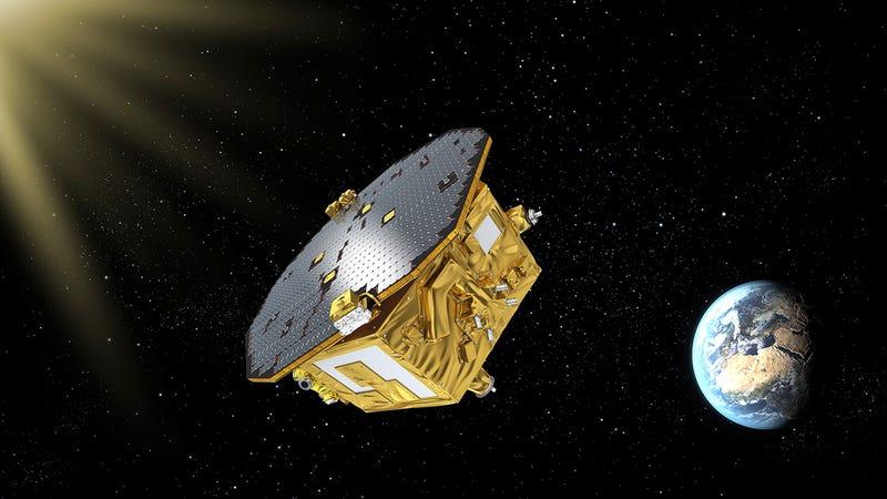 Illustration for article titled Éxito rotundo para LISA: así opera la nave que medirá ondas gravitacionales desde el espacio