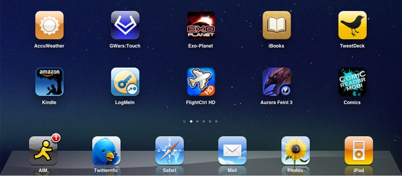 Illustration for article titled iPad Super Tip: You Can Put Six Icons In Your App Tray