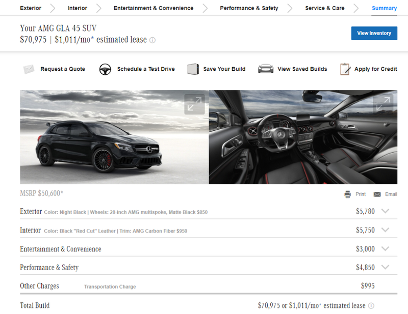 Illustration for article titled A fully optioned GLA45 AMG costs how much?!