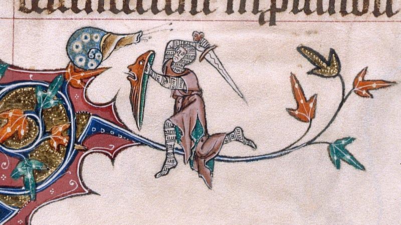 Illustration for article titled Hay un montón de pinturas medievales de caballeros luchando contra caracoles gigantes y nadie sabe bien por qué