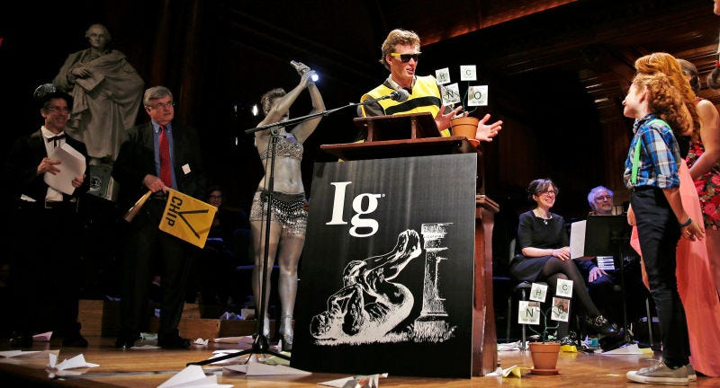 A scene from the 2015 Ig Nobel prize ceremony. (Image: AP Photo/Charles Krupa)