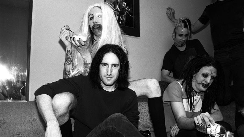 Marilyn Manson and Trent Reznor backstage at the Jon Stewart Show in 1995. (Photo: Catherine McGann / Getty Images)