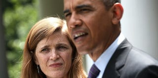 President Obama with United Nations Ambassador Samantha Power (Alex Wong/Getty Images)