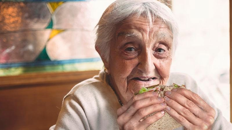 Illustration for article titled Stunned Family Watches As Grandmother Wolfs Down Sandwich In 33 Minutes