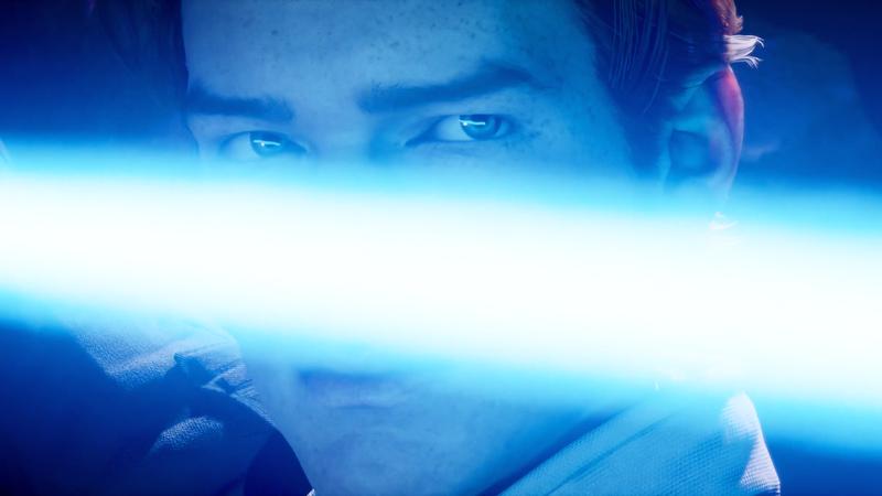 Cal Kestis wielding his lightsaber.