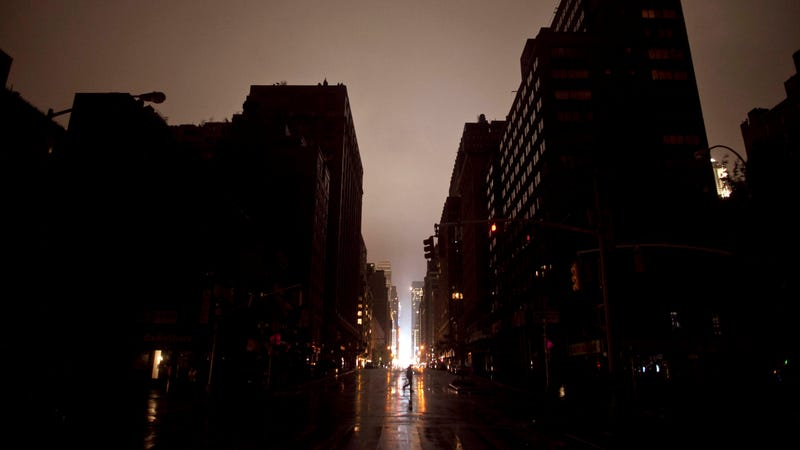 The streets of New York City after Hurricane Sandy caused blackouts in large parts of Manhattan. (Photo: Getty)