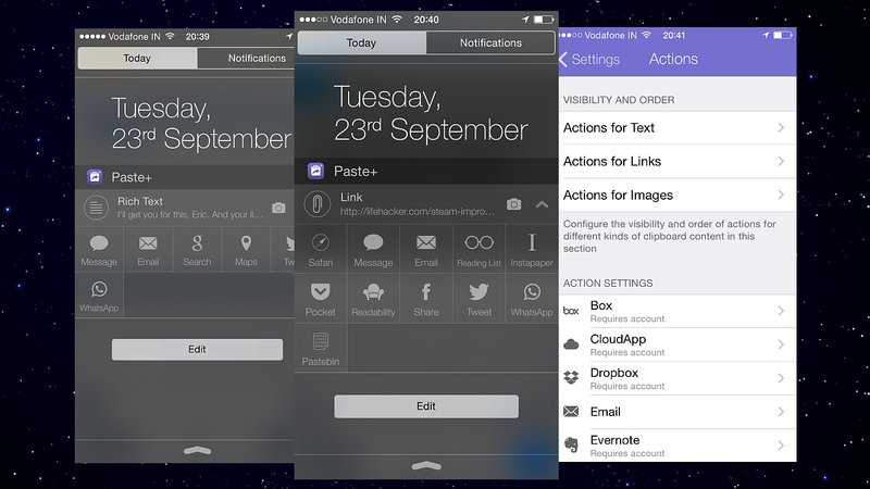 Illustration for article titled Paste+ Adds Quick Clipboard Actions to iOS 8's Notification Center
