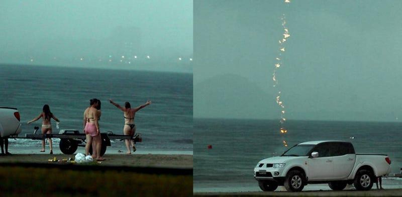 Illustration for article titled Villám csapott a turistába a tengerparton, a fotós mindent megörökített