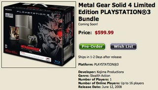 Illustration for article titled MGS4 Limited Edition PS3 Bundle Ordering Shockingly A Huge Disaster