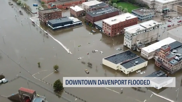 Downtown Davenport, Iowa Floods After Temporary Levees Fail