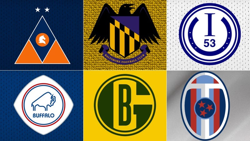 Illustration for article titled NFL Logos As European Soccer Badges: The Complete Set