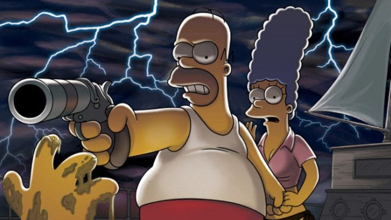 """Illustration for article titled """"Treehouse of Horror XXI""""/""""It's the Great Pancake, Cleveland Brown""""/""""Halloween on Spooner Street""""/""""Best Little Horror House in Langley Falls"""""""