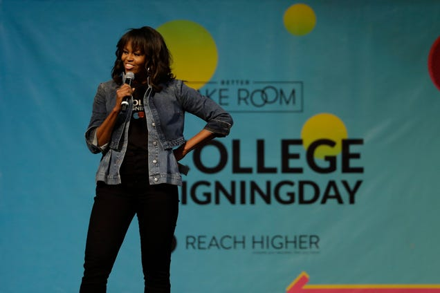 Michelle Obama speaks at College Signing Day, an event honoring Philadelphia students for their pursuit of a college education or a career in the military, on May 2, 2018, at Temple University in Philadelphia.