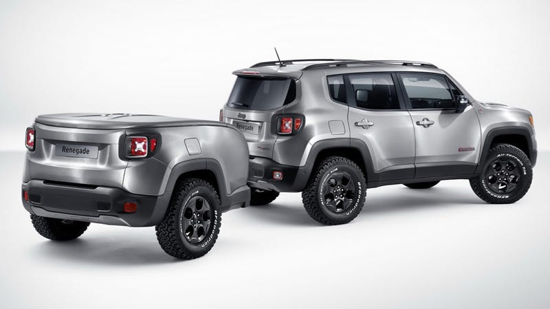 Illustration for article titled Bad Ass Brushed-Steel 2015 Jeep Renegade Has A Perfect Mini-Me Trailer