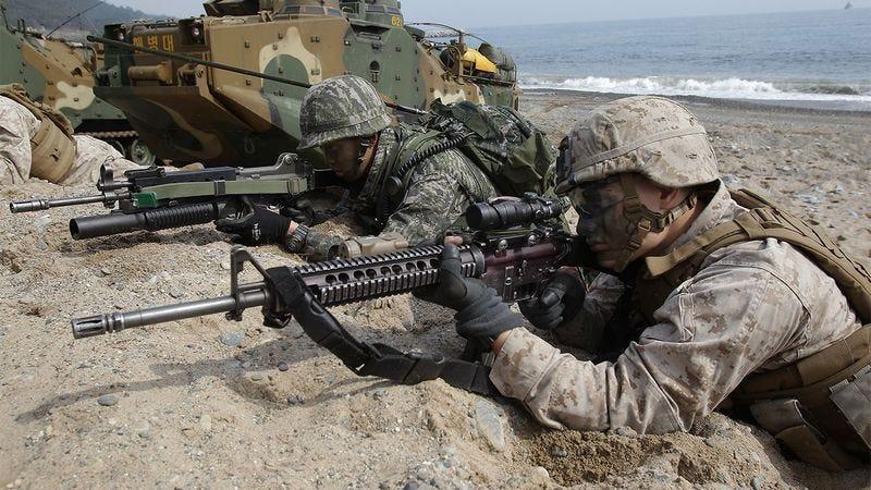 Soldiers in combat.