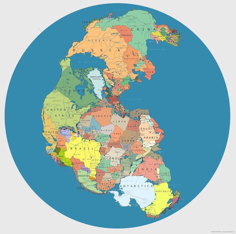 Illustration for article titled Ilyen lett volna a Pangea őskontinens a mai országhatárokkal
