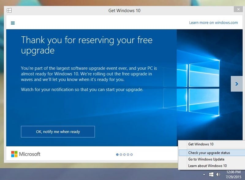 Illustration for article titled Windows 10 is Being Auto-Downloaded to Windows 7 and 8.1 Users