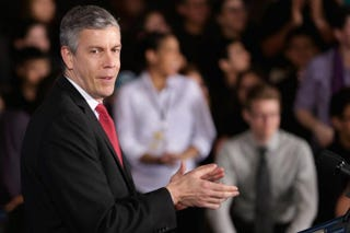 Education Secretary Arne Duncan during a Feb. 4, 2014, appearance in Adelphi, Md.Chip Somodevilla/Getty Images