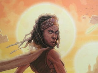 Illustration for article titled Michonne the Jedi Bounty Hunter upgrades to lightsabers