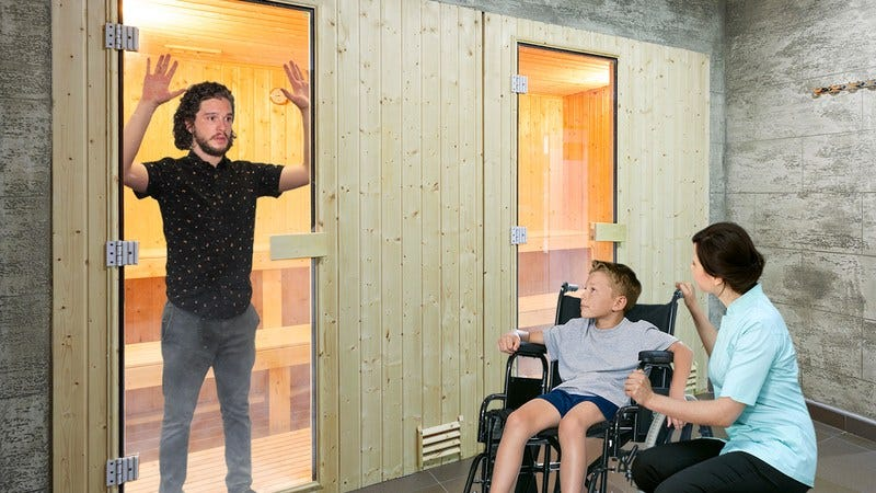 Kit Harington locked in a sauna.