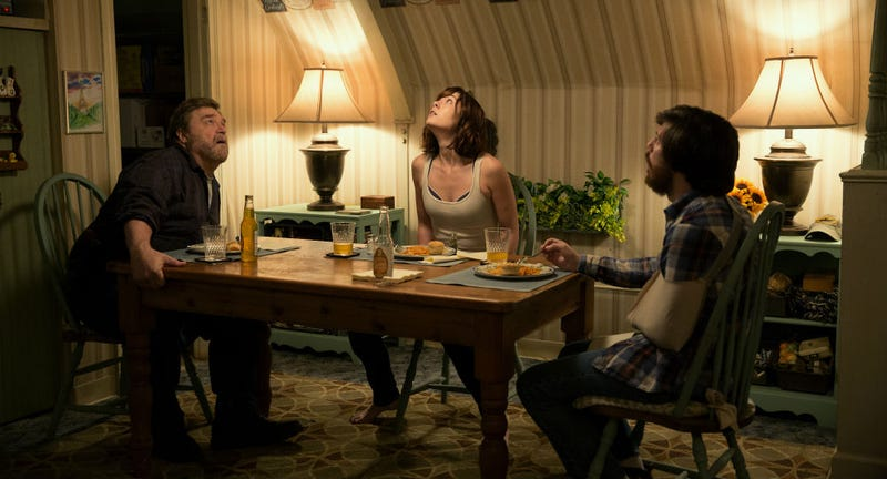 John Goodman, Mary Elizabeth Winstead and John Gallagher Jr. are in the dark in 10 Cloverfield Lane. All Images- Michele K. Short 2016 Paramount Pictures. All Rights Reserved.