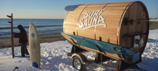 Illustration for article titled This Mobile Sauna Will Warm You Up After Surfing A Snowy Beach