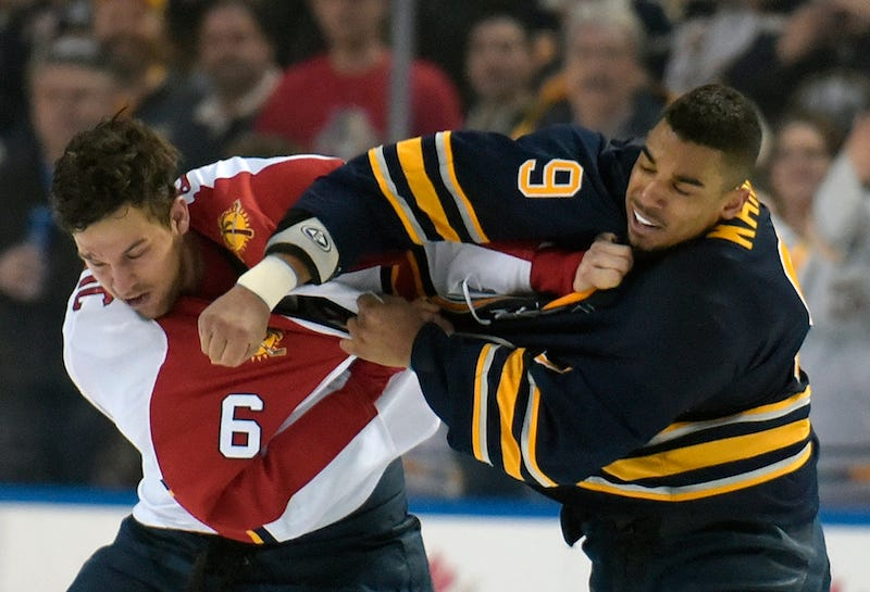 Illustration for article titled Evander Kane And Alex Petrovic Fought Three Times In One Game