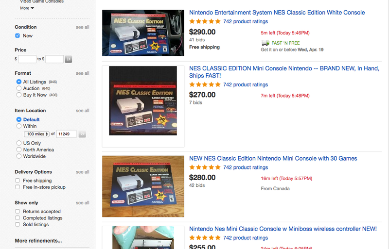 Illustration for article titled NES Classic's Ebay Price Triples, Surprising No One