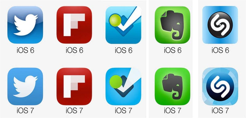 Illustration for article titled Tus aplicaciones favoritas, antes y después de iOS 7