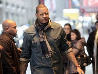 Carmelo Anthony arrives for a players' association meeting. (AP/Seth Wenig)