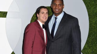 Michael Sam and Vito Cammisano arrive for the GQ Men of the Year Party, at Chateau Marmont in West Hollywood, Calif., on Dec. 4, 2014. ROBYN BECK/AFP/Getty Images