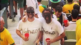 Fans of Germany's soccer team wearing blackfaceInstagram