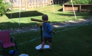 Illustration for article titled This Sports Baby Has Revolutionized The Baseball Swing