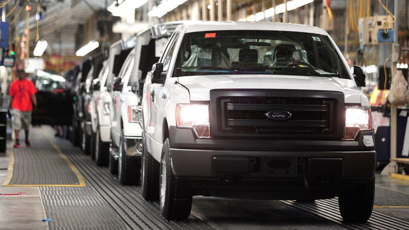 Ford F-150s at the line in Dearborn