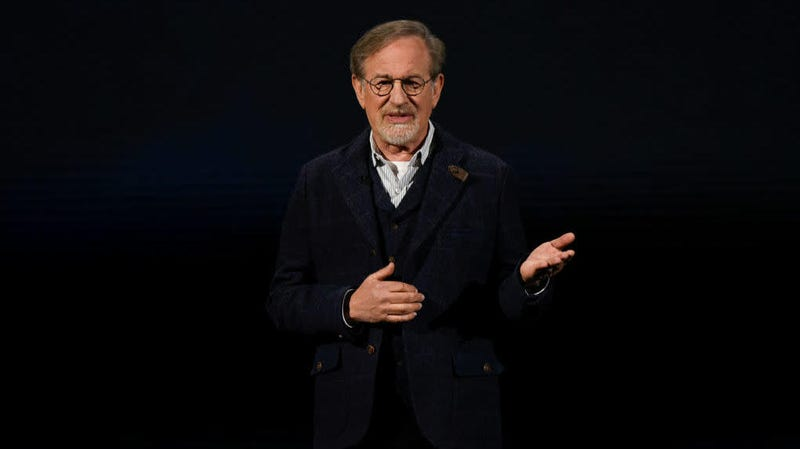Steven Spielberg presenting another one of his upcoming streaming shows, a revamp of Amazing Stories, at a recent Apple event.