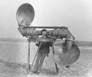 Illustration for article titled Before Radar, Militaries Used Gigantic Headphones for Land-Based Sonar