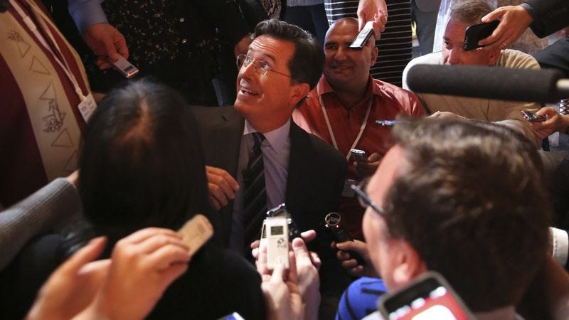 Stephen Colbert answers reporters' questions following his session at the Television Critics Association press tour