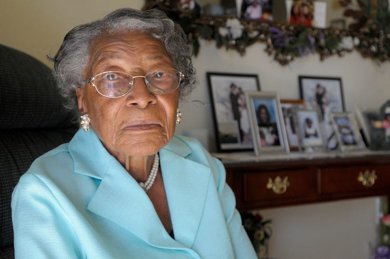 In this Oct. 7, 2010, file photo, Recy Taylor, then 91, sits in her home in Winter Haven, Fla. Oprah Winfrey's barnstormer of a speech at the Golden Globes highlighted the story of Taylor, a black Alabama woman who was raped by six white men in 1944. Winfrey told the audience that Taylor was a name they should know. (Phelan M. Ebenhack/AP Images)