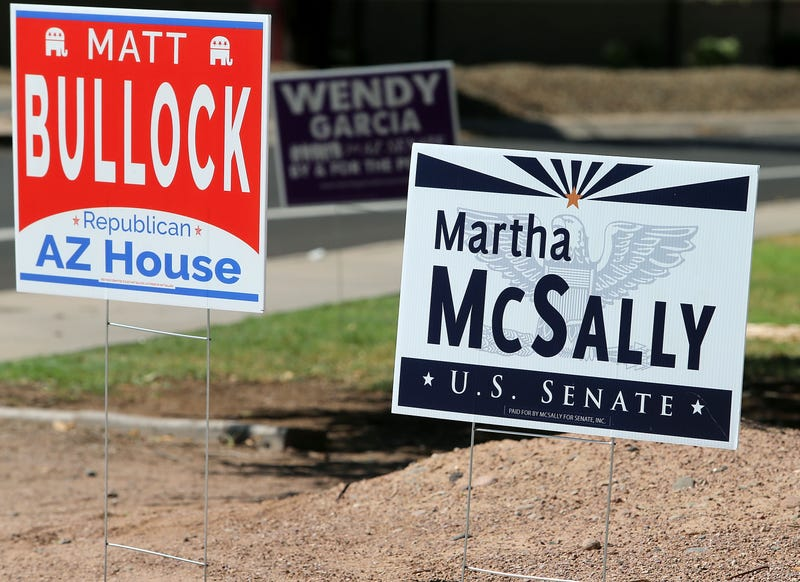 A campaign sign for Martha McSally for U.S. Senate at a polling place in Arizona in the lead-up to the state's primaries.