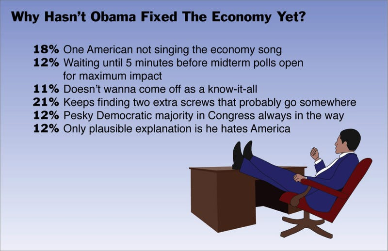 Illustration for article titled Why Hasn't Obama Fixed The Economy Yet?