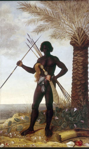 Black man in a tropical landscape, Albert Eckhout, 1641.Oil on canvas, 264 by 162 cm. Nationalmuseet, Copenhagen