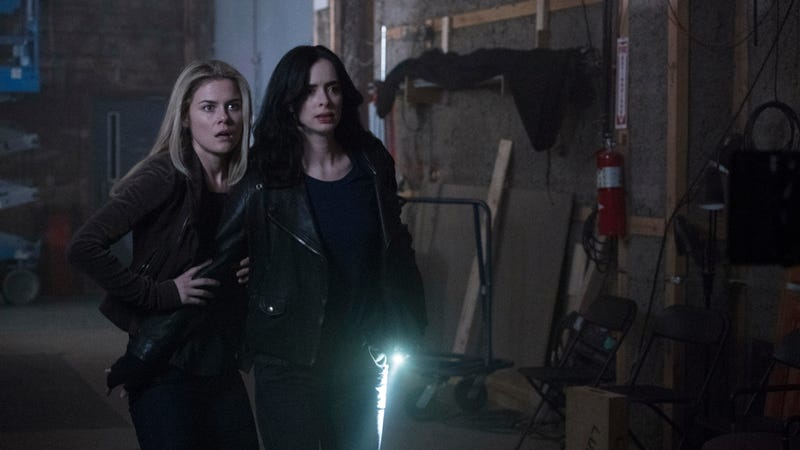 Jessica Jones (right, Krysten Ritter) and Trish Walker (Rachael Taylor) go out in search of gender parity.