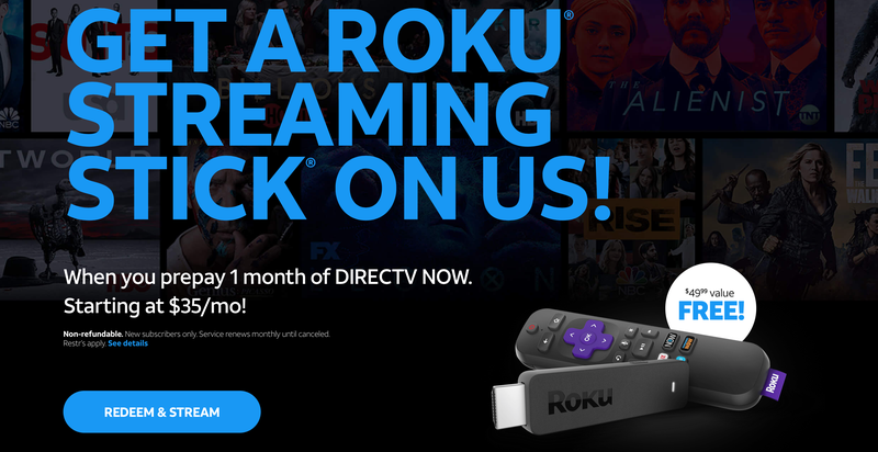 FREE Roku Streaming Stick With One Month of DIRECTV Now