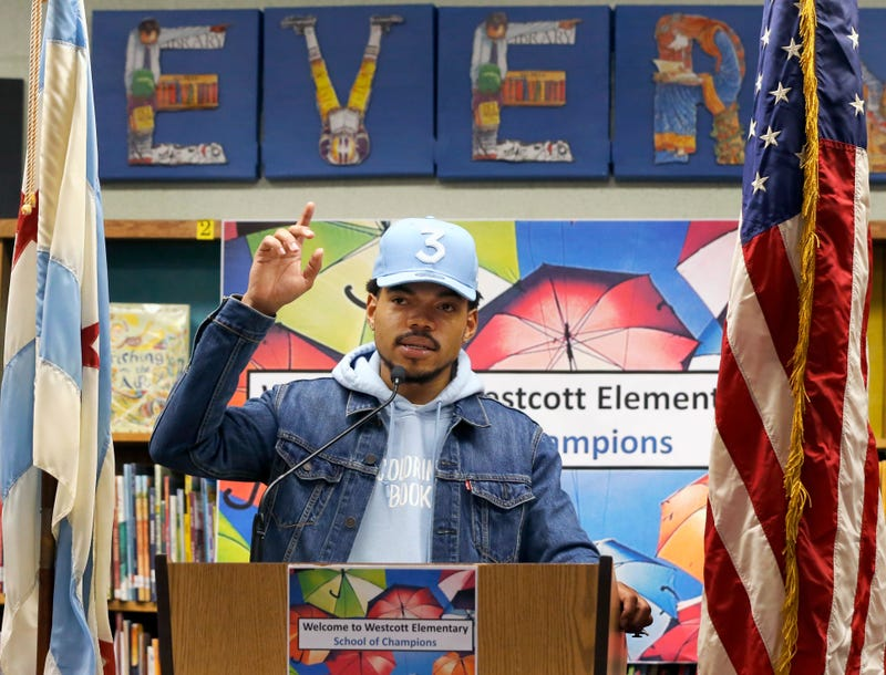 Chance the Rapper announces a gift of $1 million to the Chicago Public School Foundation on March 6, 2017, in Chicago.  (Charles Rex Arbogast/AP Images)