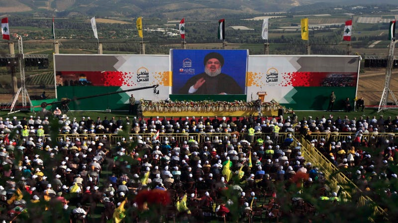Hezbollah leader Sheik Hassan Nasrallah gives a speech for an al-Quds (Jerusalem) Day rally in Lebanon from an undisclosed location on June 8th, 2018.