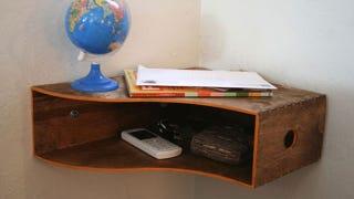 Illustration for article titled Turn a Magazine Holder into a Corner Shelf
