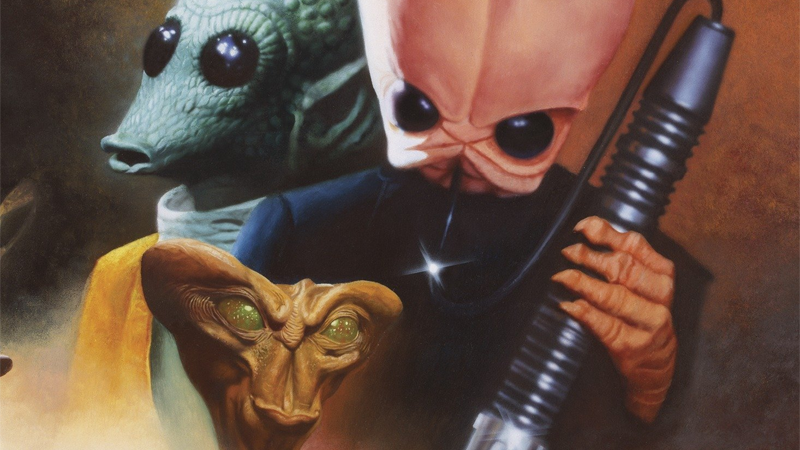 "Cover art for Tales from the Mos Eisley Cantina used in the book's ""Legends"" re-release."