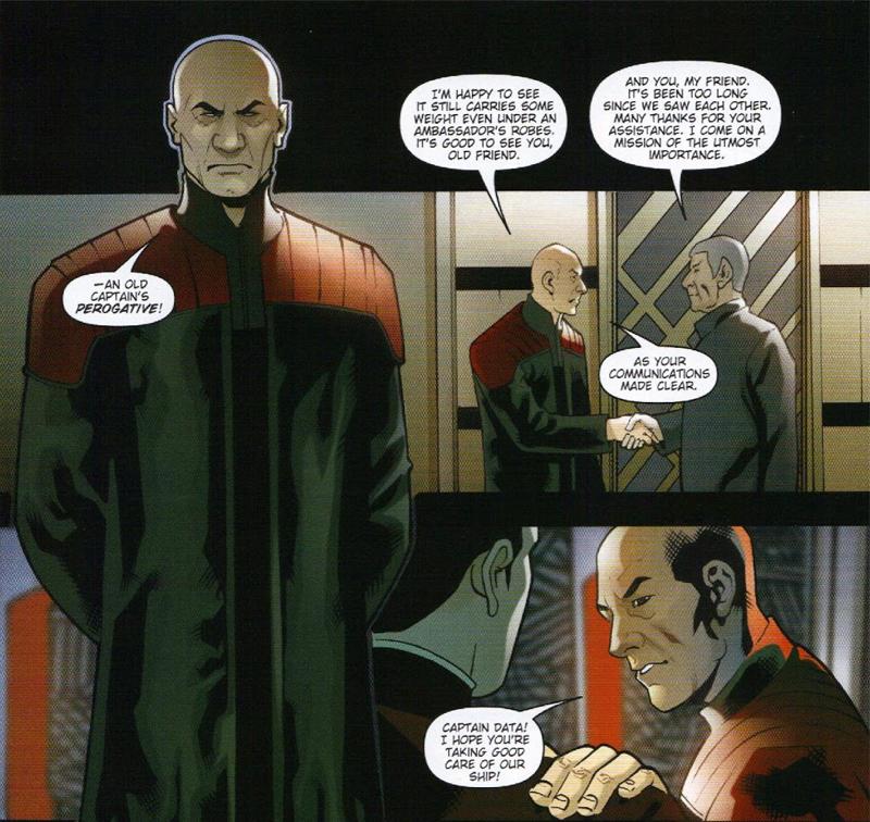 Ambassador Picard greets the Enterprise's captain.